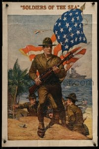 7w040 U.S. MARINES: SOLDIERS OF THE SEA 15x23 WWI war poster 1916 great Sidney H. Riesenberg art!