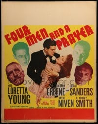 7w026 FOUR MEN & A PRAYER jumbo WC 1938 John Ford, Loretta Young, Richard Greene, Niven, Sanders