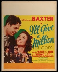 7w027 I'LL GIVE A MILLION jumbo WC 1938 romantic c/u of Warner Baxter & pretty Marjorie Weaver!