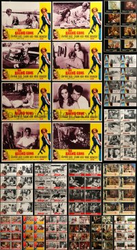 7x004 LOT OF 136 LOBBY CARDS 1960s-80s complete sets of 8 cards from 17 different movies!