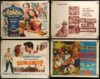 7x029 LOT OF 4 FOLDED HALF-SHEETS 1950s-1960s great images from a variety of different movies!