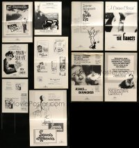 7x024 LOT OF 10 UNCUT PRESSBOOKS AND AD SLICKS OF U.S. RELEASES OF FOREIGN FILMS 1950s-1980s