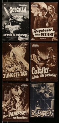 7x015 LOT OF 6 GERMAN AND AUSTRIAN HORROR/SCI-FI PROGRAMS 1950s-1960s When Worlds Collide, Godzilla!