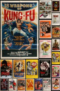 7x076 LOT OF 49 FOLDED KUNG FU ONE-SHEETS 1960s-1980s great images from martial arts movies!
