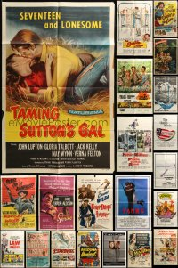 7x080 LOT OF 43 FOLDED ONE-SHEETS 1940s-1980s great images from a variety of different movies!