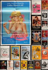 7x073 LOT OF 51 FOLDED SEXPLOITATION ONE-SHEETS 1960s-80s great sexy images with some nudity!