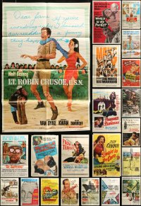 7x079 LOT OF 45 FOLDED ONE-SHEETS 1950s-1960s great images from a variety of different movies!