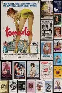7x039 LOT OF 98 FOLDED SEXPLOITATION ONE-SHEETS 1970s-80s great sexy images with near-nudity!