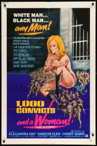 7y016 1000 CONVICTS & A WOMAN 1sh 1971 sexy blonde nympho Alexandra Hay would take any man!