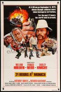 7y017 21 HOURS AT MUNICH 1sh 1976 cool art of William Holden, Franco Nero with grenade!