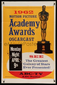 7y001 34TH ANNUAL ACADEMY AWARDS 1sh 1962 Motion Picture Academy Awards Oscarcast, Oscar statuette!