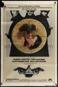 7y011 3 DAYS OF THE CONDOR 1sh 1975 CIA analyst Robert Redford & Faye Dunaway!