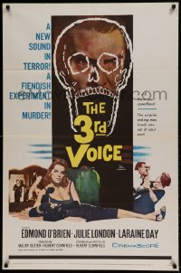 7y014 3rd VOICE 1sh 1960 cool image of Edmund O'Brien in huge skull + sexy Julie London!
