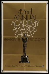 7y003 42ND ANNUAL ACADEMY AWARDS foil 1sh 1970 wonderful image of the Oscar statue!