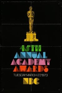 7y004 45TH ANNUAL ACADEMY AWARDS 1sh 1973 NBC, great artwork of the Oscar statuette!