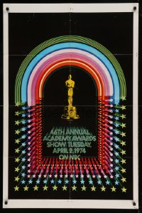 7y005 46TH ANNUAL ACADEMY AWARDS 1sh 1974 great image of Oscar statuette, jukebox design!
