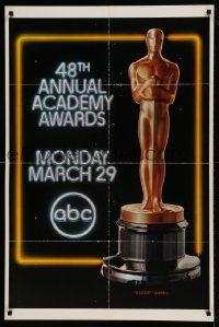 7y006 48TH ANNUAL ACADEMY AWARDS 1sh 1976 huge image of Oscar statuette, ABC Television!