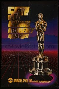 7y008 55TH ANNUAL ACADEMY AWARDS 1sh 1983 cool image of the golden Oscar statuette over city!