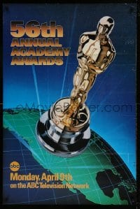7y009 56TH ANNUAL ACADEMY AWARDS 1sh 1984 great image of the Oscar statuette over the earth!