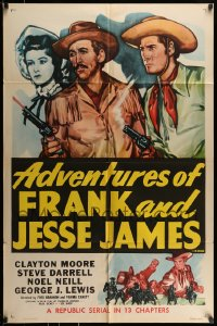 7y023 ADVENTURES OF FRANK & JESSE JAMES 1sh R1956 Clayton Moore, Steve Darrell, western serial!
