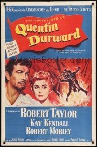 7y024 ADVENTURES OF QUENTIN DURWARD 1sh 1955 English hero Robert Taylor & pretty Kay Kendall!