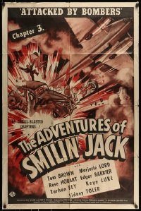 7y025 ADVENTURES OF SMILIN' JACK chapter 3 1sh 1942 Keye Luke & Tom Brown, Attacked by Bombers!