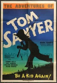 7y026 ADVENTURES OF TOM SAWYER 1sh 1938 Kelly, Mark Twain, completely different art, Leader Press!