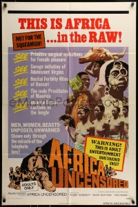 7y028 AFRICA UNCENSORED 1sh 1972 Africa ama, wild images from mondo documentary!