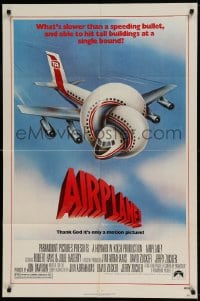 7y030 AIRPLANE 1sh 1980 classic zany parody by Jim Abrahams and David & Jerry Zucker!