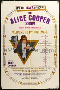 7y033 ALICE COOPER: WELCOME TO MY NIGHTMARE 1sh 1975 JAWS of rock, art of Alice Cooper by Struzan!