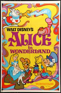 7y034 ALICE IN WONDERLAND 1sh R1974 Walt Disney, Lewis Carroll classic, cool psychedelic art!
