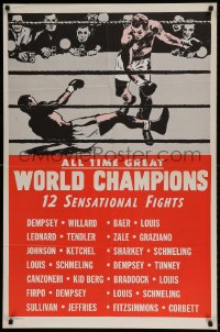 7y036 ALL TIME GREAT WORLD CHAMPIONS 1sh 1940s Jack Dempsey, Joe Louis, Rocky Graziano, boxing
