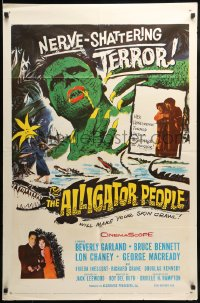 7y038 ALLIGATOR PEOPLE 1sh 1959 Beverly Garland, Lon Chaney, they'll make your skin crawl!