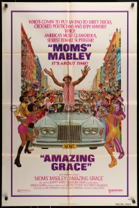 7y040 AMAZING GRACE 1sh 1974 Moms Mabley, Slappy White, Stepin Fetchit, blaxploitation, Kunstler art!