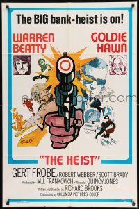 7y015 $ style D int'l 1sh 1971 bank robbers Warren Beatty & Goldie Hawn, The Heist!