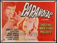 8b067 PARANOIAC British quad 1963 Hammer English horror, cool art of Janette Scott & Oliver Reed!