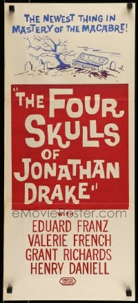 8g882 FOUR SKULLS OF JONATHAN DRAKE Aust daybill 1959 completely different open coffin artwork