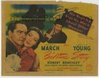 8k025 BEDTIME STORY TC 1941 Loretta Young, Fredric March's bedtime stories were about other women!