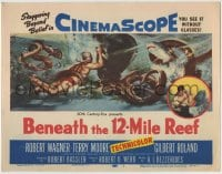 8k029 BENEATH THE 12-MILE REEF TC 1953 cool art of scuba divers fighting octopus & shark!