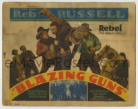 8k037 BLAZING GUNS TC 1935 Reb Russell & his horse Rebel, The Marvel Horse, cool cowboy image!