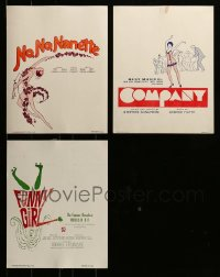8m012 LOT OF 3 UNFOLDED 11X14 STAGE PLAY POSTERS 1970s Funny Girl, No No Nanette, Company!