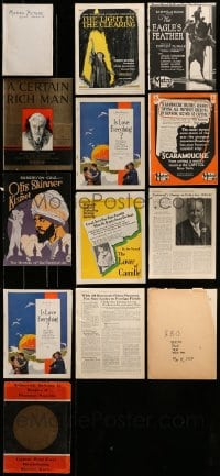8m039 LOT OF 13 MISCELLANEOUS ITEMS 1913-1930 from a variety of different movies!