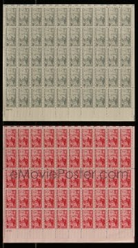 8m016 LOT OF 2 CONFEDERATE ARMY REUNION STAMP SHEETS 1950s containing a total of 100 stamps!