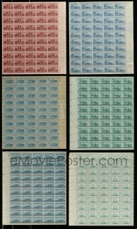 8m018 LOT OF 6 TRANSPORTATION VEHICLE STAMP SHEETS 1940s-1950s containing a total of 300 stamps!