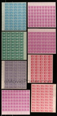 8m019 LOT OF 8 FRANKLIN ROOSEVELT AND FAMOUS AMERICANS STAMP SHEETS 1940s containing a total of 460 stamps!