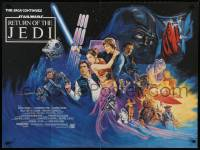 8p410 RETURN OF THE JEDI British quad 1983 George Lucas classic, different art by Kirby, 30x40 size