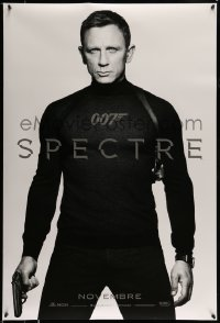 8p035 SPECTRE teaser DS Canadian 1sh 2015 cool image of Daniel Craig as James Bond 007 with gun!