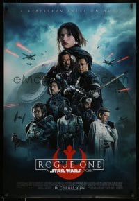 8p322 ROGUE ONE advance DS 1sh 2016 A Star Wars Story, cast montage, Death Star, white title