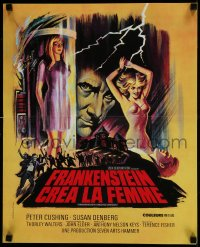 8p685 FRANKENSTEIN CREATED WOMAN French 17x21 1967 cool art of Peter Cushing & Susan Denberg!