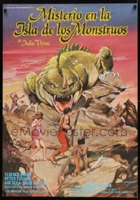 8p012 MYSTERY ON MONSTER ISLAND Spanish 1981 Terence Stamp, Peter Cushing, different fantasy art!
